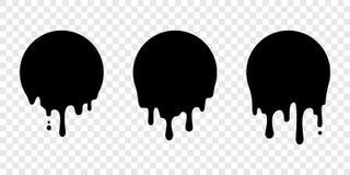 Droppe för vektor för etikett för cirkel för målarfärgdroppandeklistermärke vätske royaltyfri illustrationer