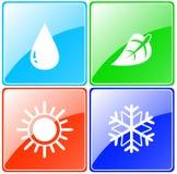 Droppe sol, snöflinga, bladknapp stock illustrationer