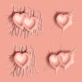 Dropped pink color cloth on heart sign Stock Photos