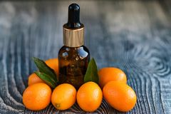 Dropper bottle of kumquat essential oil. A dropper bottle of kumquat essential oil. Cumquats on the wooden rustic background stock photography