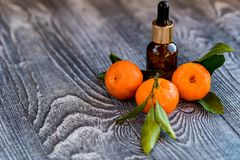 Dropper bottle of mandarin essential oil. A dropper bottle of mandarin essential oil. Mandarins on the wooden rustic background royalty free stock images