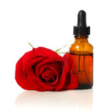Dropper bottle with red rose. Dropper bottle with beautiful red rose over white background stock photography