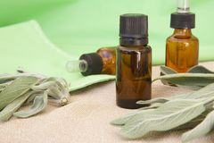 A dropper bottle of sage essential oil. Fresh leaves of sage are in the background stock image