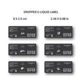 Dropper e-liquid label design for e-cig brand packaging Stock Photos