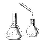Dropper and laboratory flasks sketch Royalty Free Stock Images