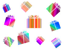 Dropping presents. Dropping present boxes Stock Illustration