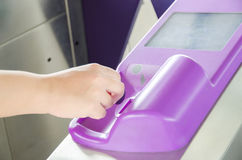 Dropping RFID token to open gate Stock Image