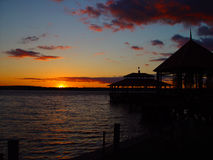 Dropping the sun. Sunset on the Toledo Bend Stock Images