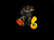 Dropping vegetables. This photo represents freshness in vegetables Stock Images