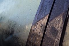 Droppings on car window. Dropping or dew on car window Royalty Free Stock Images