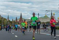 2016 09 25: droppMoskvamaraton avstånd för 36-thkm-maraton Arkivbild