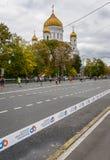 2016 09 25: droppMoskvamaraton avstånd för 36-thkm-maraton Arkivfoton