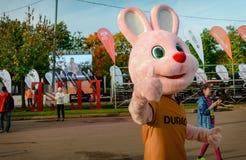 2016 09 25: droppMoskvamaraton Den berömda haren Duracell Fotografering för Bildbyråer