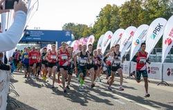 2016 09 25: droppMoskvamaraton Starta på 10 km Royaltyfria Bilder