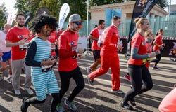 2016 09 25: droppMoskvamaraton Starta på 10 km Fotografering för Bildbyråer