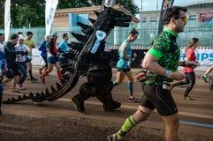 2016 09 25: droppMoskvamaraton Starten av 42na 0,85 km Arkivfoto
