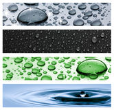 Drops. Banners, headers water drops,background royalty free stock image