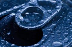 Drops on an aluminum can. Macro. royalty free stock photo