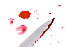 Drops of blood with knife. Royalty Free Stock Photos
