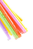 Drops and bunch of colorful straws Stock Photography