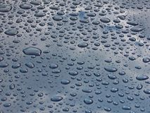 Drops on car. Drops on blue car stock photo