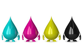 Drops characters of CMYK colors Stock Image