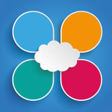 4 Drops Cloud Centre Blue Background. Infographic design with cloud and 4 abstract speech bubbles on the blue background royalty free illustration