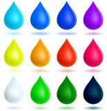 Drops. Colorful set of twelve drops Stock Photos