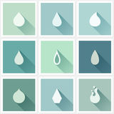 Drops. Flat design elements with long shadow. Vector illustratio Stock Images