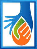 Drops with handshake logo stock illustration