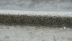 Drops of heavy rain fall on asphalt. Tropical Rainfall. Drops of heavy rain fall on the asphalt. Tropical Rainfall stock video