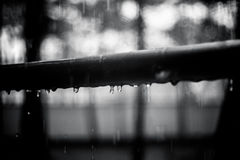 Drops on the metal handrail, black and white photo. Summer rain, droplets on metal handrail royalty free stock image