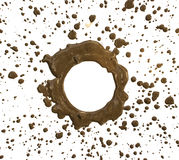 Drops of mud sprayed and Space center circle a white background Stock Photos