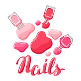 Drops of nail polish and bottles. Fashionable illustration for manicure salons Stock Photography
