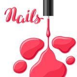 Drops of nail polish and brush. Fashionable illustration for manicure salons Stock Image
