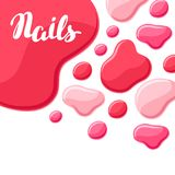 Drops of nail polish. Fashionable illustration for manicure salons Stock Image