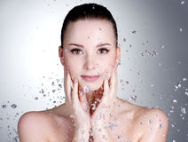 Drops Of Water Around The Beautiful Woman Face Stock Photography