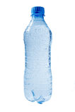 Drops on plastic water bottle. Stock Photo