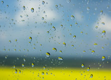 Drops of rain on the glass Royalty Free Stock Photography