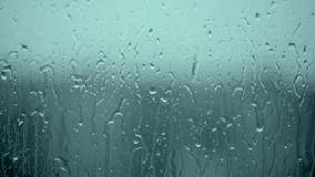 Autumn Weather Storm, Covered with Water Drops, Condensation, Bubbles, Wash, Clean, Image of Cloud and Rain Forecast, Water Resist. Drops Of Rain On Glass stock video footage