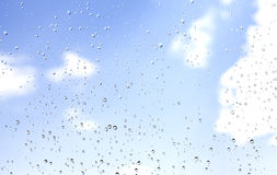 Drops of rain on glass, natural background Royalty Free Stock Photo