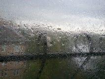 Drops of rain on the window Royalty Free Stock Photo