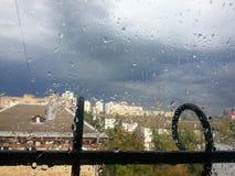 Drops of rain on the window Stock Photo
