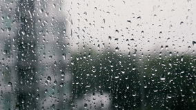 Drops of rain on a window pane stock video