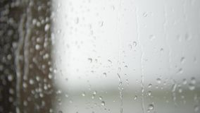 Rain drops falling down on glass. Drops of rain on a window pane, buildings in background stock video footage