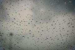 Drops of rain on a window pane. Shallow depth of field. Stock Image