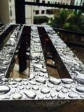 Drops reflection Metal iron greens royalty free stock image