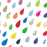Drops seamless pattern with cute flowers Stock Photo