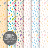 Drops Seamless pattern. Vector background. Neutral light set. Se
