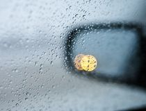 Drops on the side mirrors Stock Images